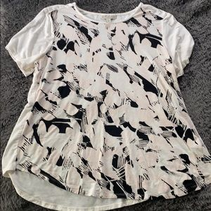 White, black and light pink blouse